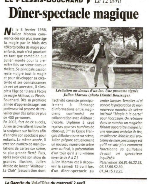 Le magicien Julien MOREAU est à découvrir dans la gazette du Val d Oise et un spectacle pour une association au Plessis-Bouchard