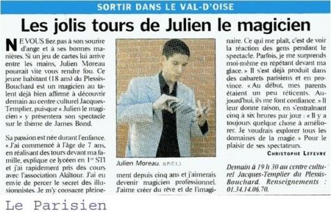Article dans le Parisien basé à Pontoise (Val D'Oise - 95) avec comme titre
