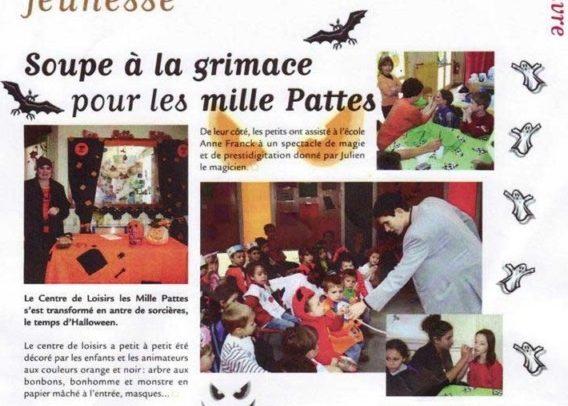 Le magicien Julien MOREAU est évoqué suite à un spectacle enfants réalisé pour Halloween pour un centre de loisirs dans le journal du Plessis-Bouchard (Val d'Oise -95)