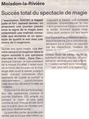 Article paru dans L'Eclaireur Succès total du spectacle du magicien Julien MOREAU